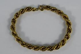 18K GOLD FRENCH ROPE CHAIN LINK BRACELET#