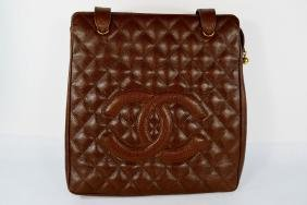 VINTAGE CHANEL QUILTED CAVIAR LEATHER TOTE BAG