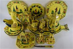 15pcs HB HENRIOT QUIMPER FRENCH POTTERY WARE SET