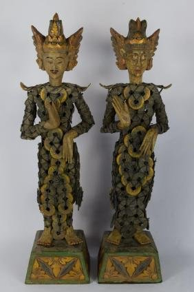 PAIR CHINESE COIN EMPEROR & EMPRESS SCULPTURES