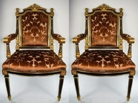 PAIR LOUIS STYLE GOLD GILT WOOD CHAIRS