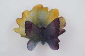 DAUM FRANCE PATE DE VERRE BUTTERFLY COUPELLE
