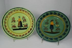 2 HR HENRIOT QUIMPER FRENCH POTTERY WARE PLATES