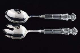 WATERFORD CRYSTAL SALAD FORK & SPOON SERVING SET