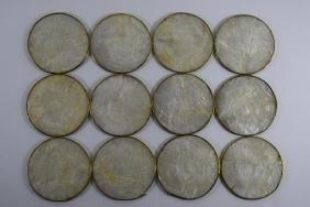 12 VINTAGE MOTHER OF PEARL COASTERS WITH GOLD TRIM