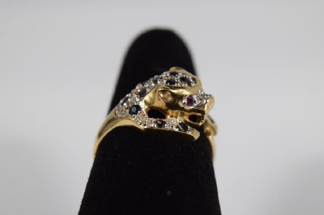 14K GOLD SAPPHIRE RUBY PANTHER HEAD RING