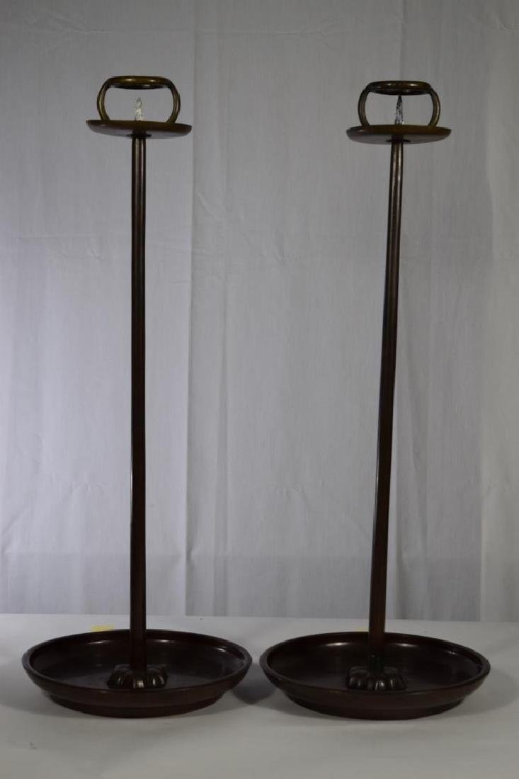 PAIR JAPANESE TALL COPPER SHOKUDAI CANDLE STANDS