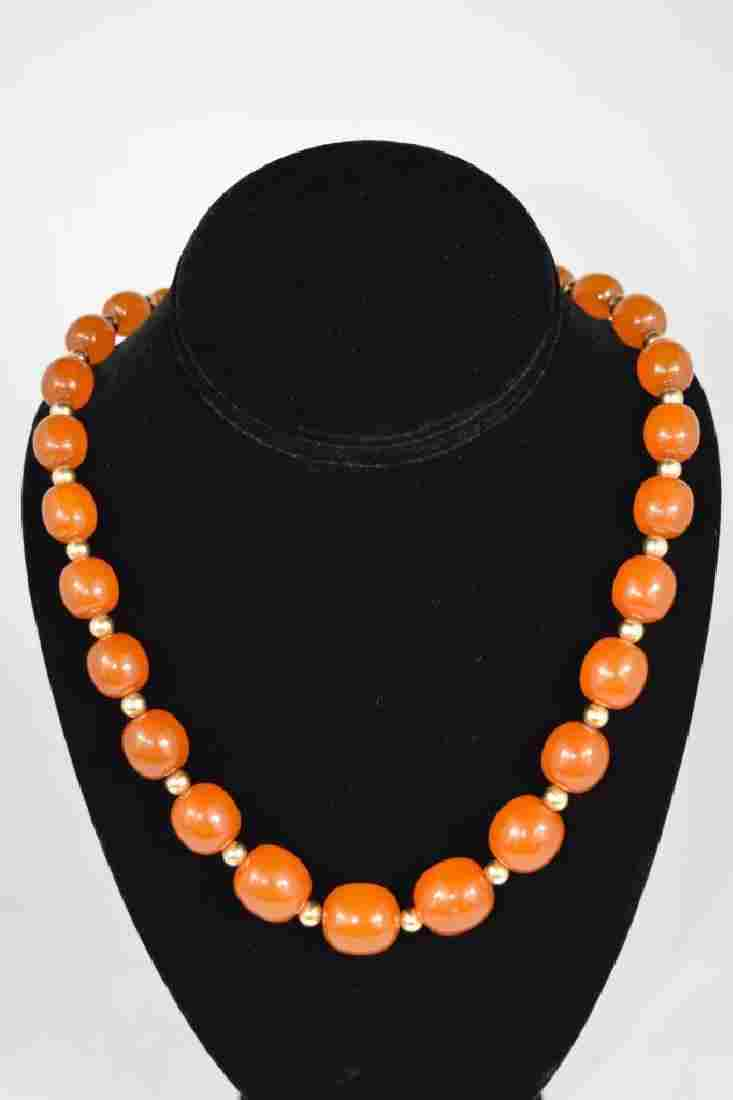 14K GOLD & AMBER BEADED NECKLACE