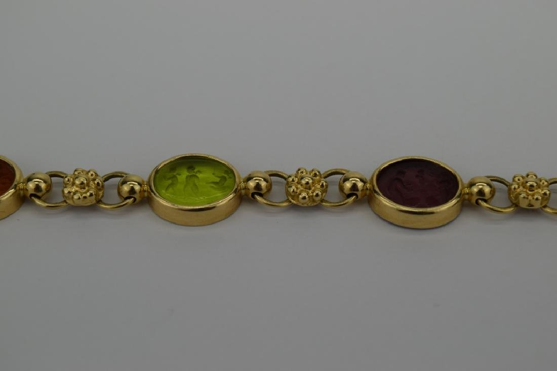 14K MULTI COLOR ITALIAN GLASS INTAGLIO LINK BRACELET - 10