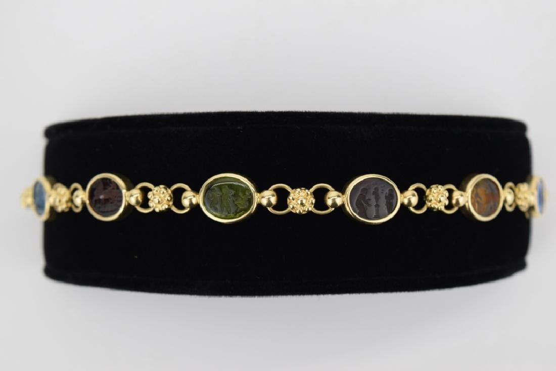 14K MULTI COLOR ITALIAN GLASS INTAGLIO LINK BRACELET