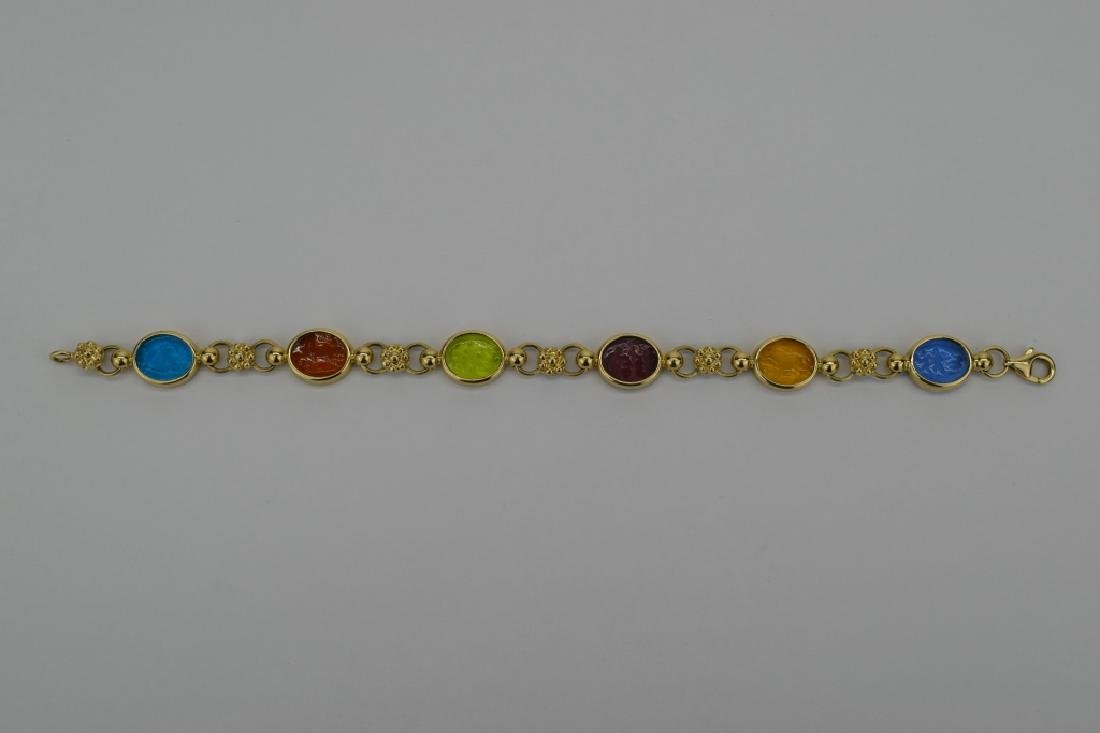 14K MULTI COLOR ITALIAN GLASS INTAGLIO LINK BRACELET - 5