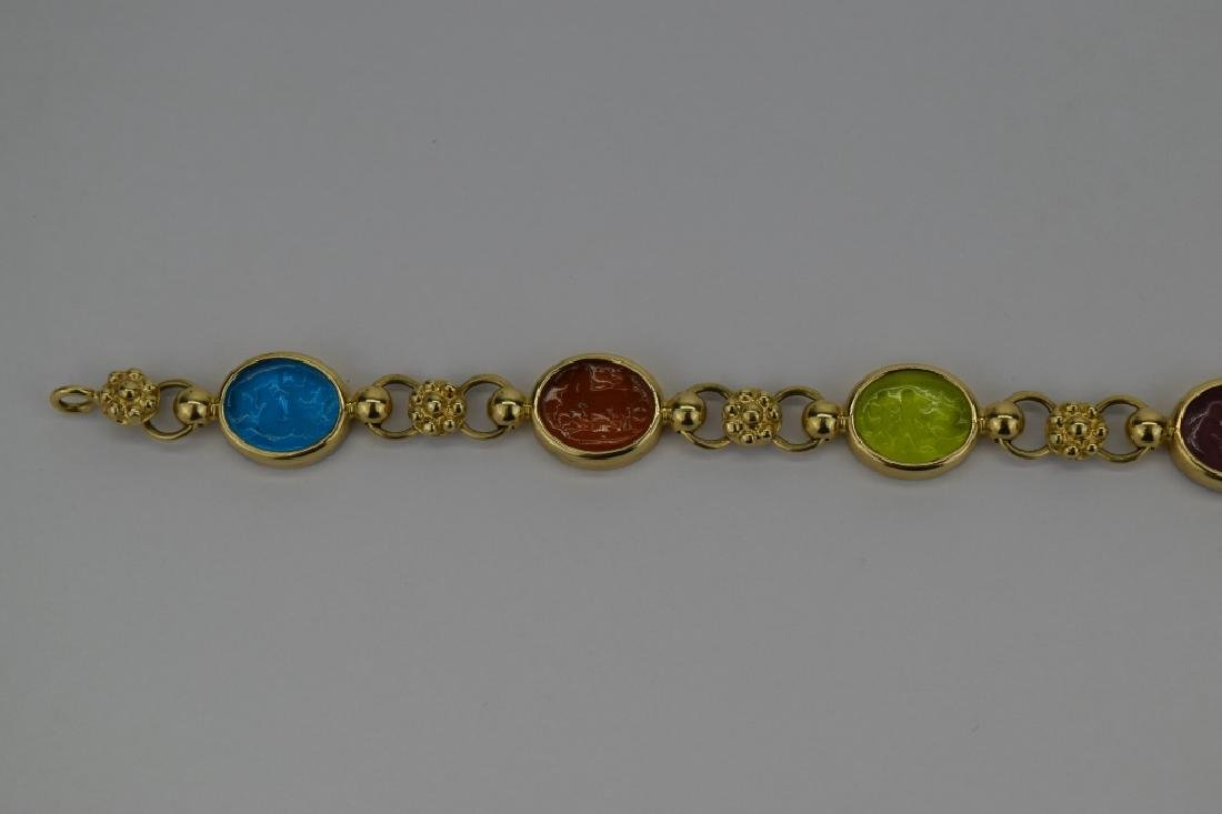 14K MULTI COLOR ITALIAN GLASS INTAGLIO LINK BRACELET - 6