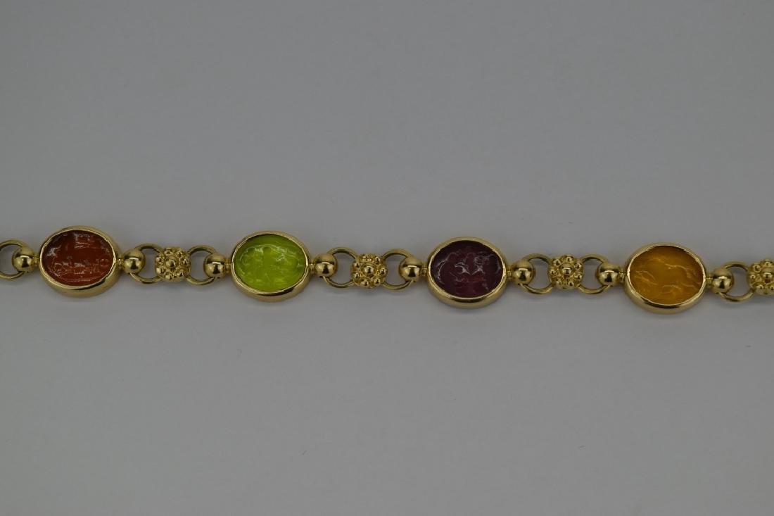 14K MULTI COLOR ITALIAN GLASS INTAGLIO LINK BRACELET - 7