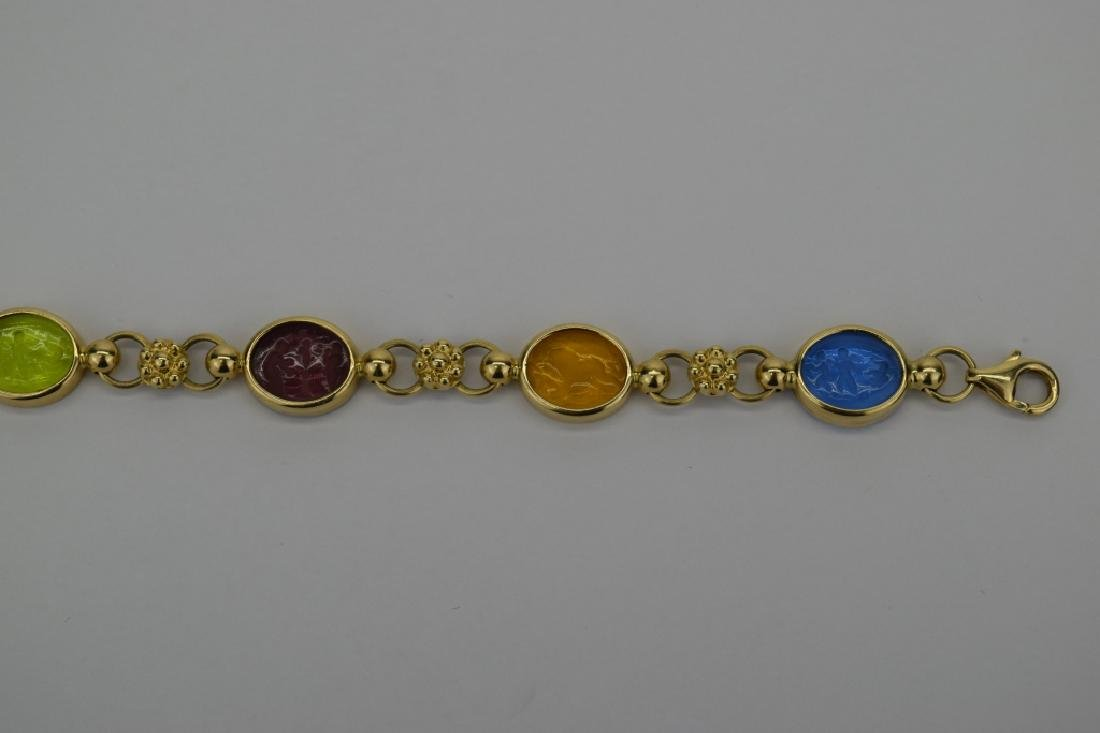 14K MULTI COLOR ITALIAN GLASS INTAGLIO LINK BRACELET - 8