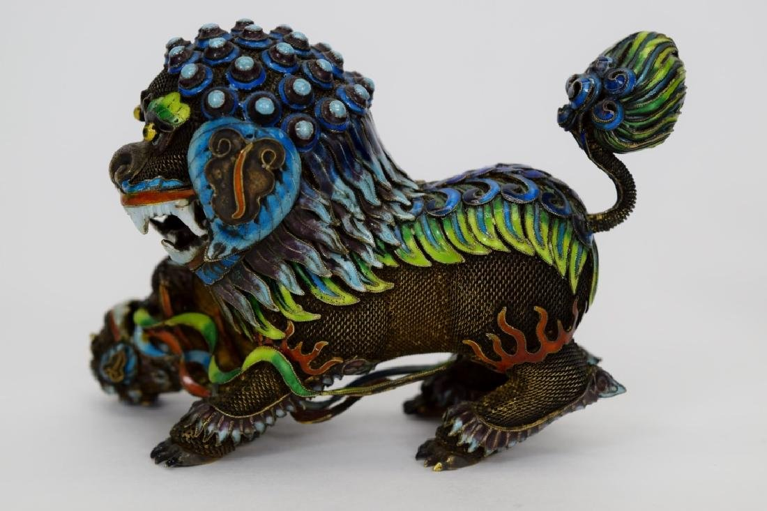 PAIR CHINESE SILVER & ENAMEL FOO DOGS - 4