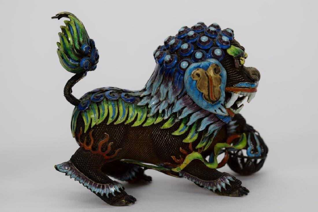 PAIR CHINESE SILVER & ENAMEL FOO DOGS - 9
