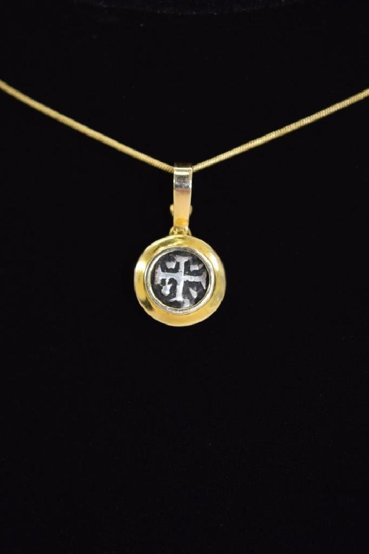 14K GOLD NECKLACE PENDANT ANCIENT SILVER COIN