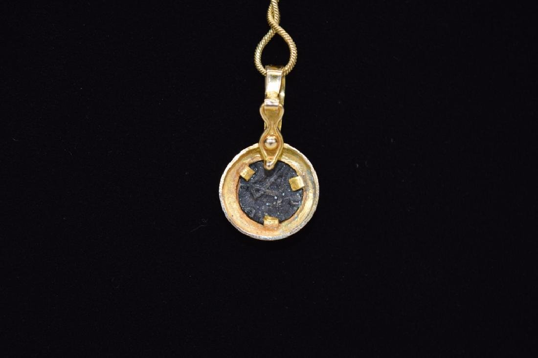 14K GOLD NECKLACE PENDANT ANCIENT SILVER COIN - 2