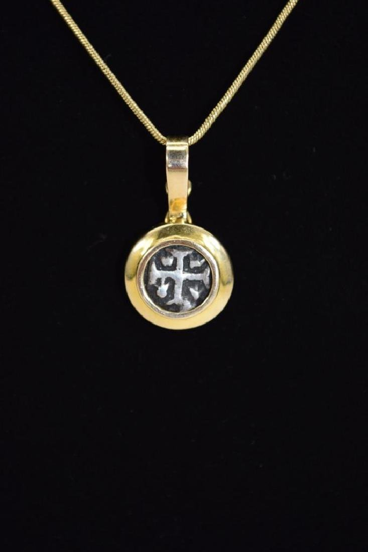 14K GOLD NECKLACE PENDANT ANCIENT SILVER COIN - 3