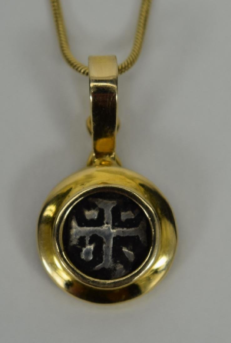 14K GOLD NECKLACE PENDANT ANCIENT SILVER COIN - 5