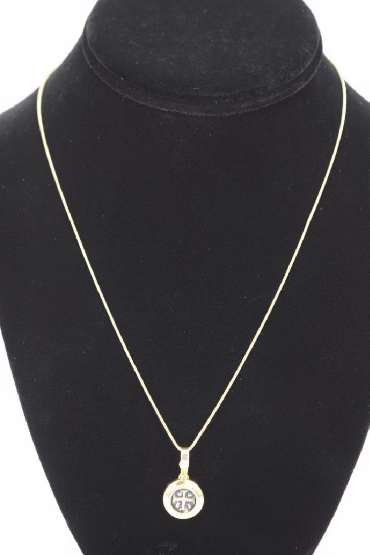14K GOLD NECKLACE PENDANT ANCIENT SILVER COIN - 7