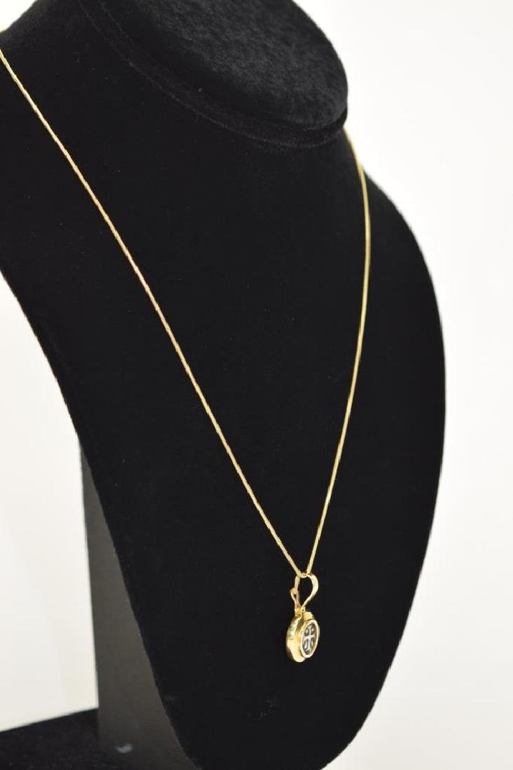 14K GOLD NECKLACE PENDANT ANCIENT SILVER COIN - 8