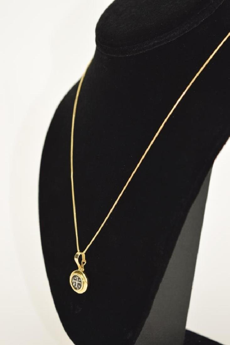 14K GOLD NECKLACE PENDANT ANCIENT SILVER COIN - 9