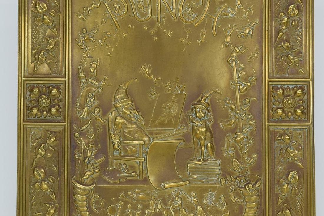 """ANTIQUE BOOK """"PUNCH & JUDY"""" BRASS FRONT BOX COVER - 4"""