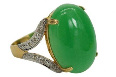 14K GOLD JADE CABOCHON DIAMOND RING