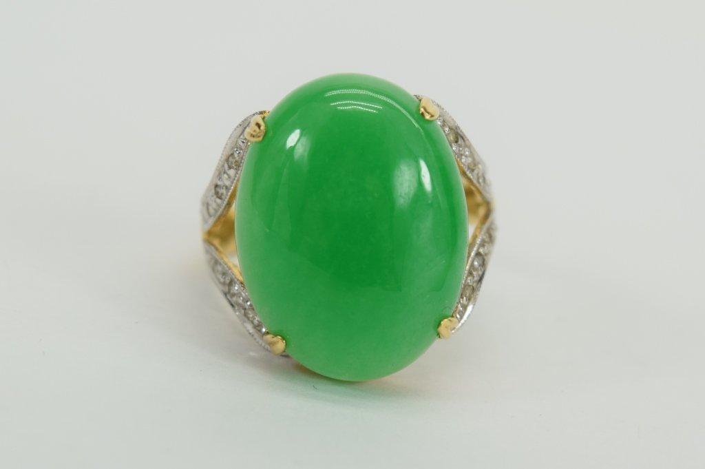 14K GOLD JADE CABOCHON DIAMOND RING - 2