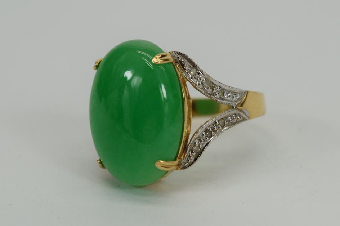 14K GOLD JADE CABOCHON DIAMOND RING - 3