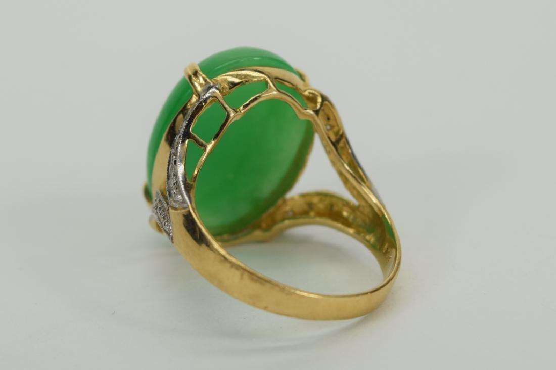 14K GOLD JADE CABOCHON DIAMOND RING - 4