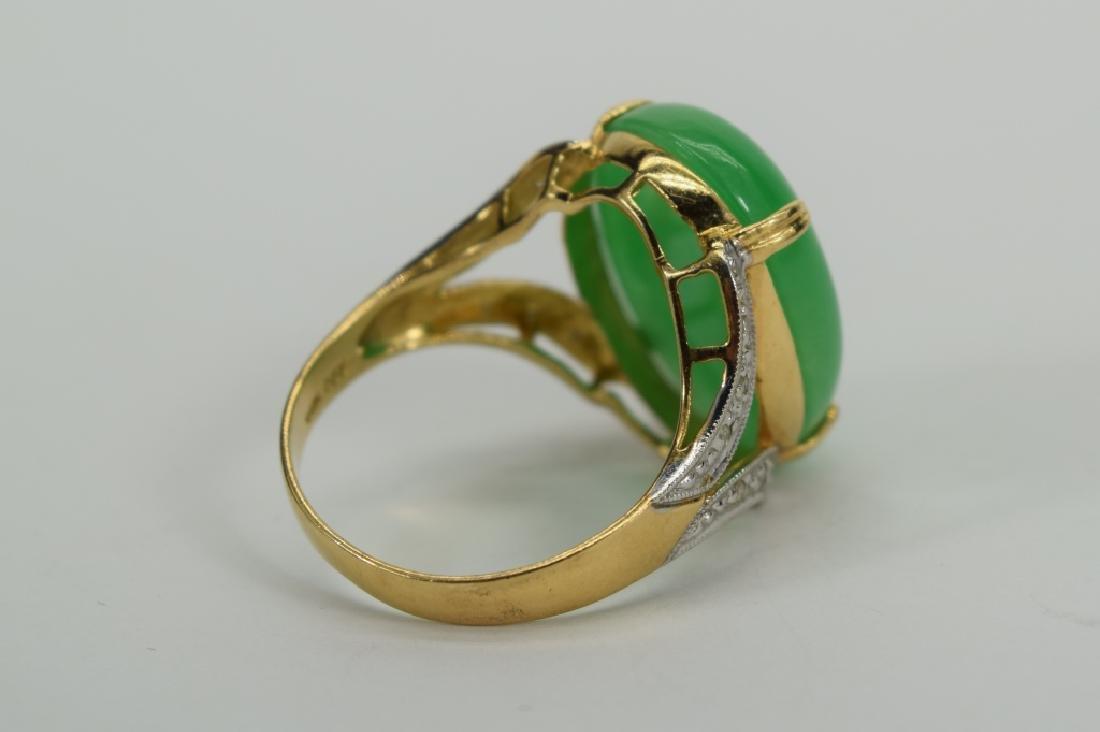 14K GOLD JADE CABOCHON DIAMOND RING - 5