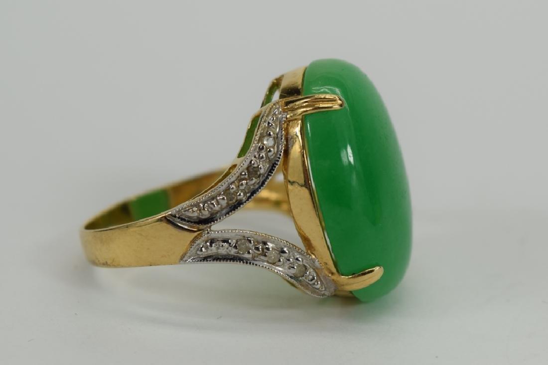 14K GOLD JADE CABOCHON DIAMOND RING - 6