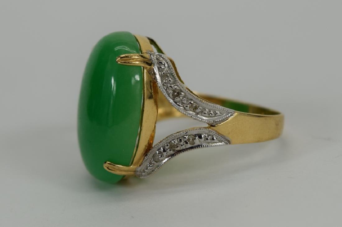 14K GOLD JADE CABOCHON DIAMOND RING - 7
