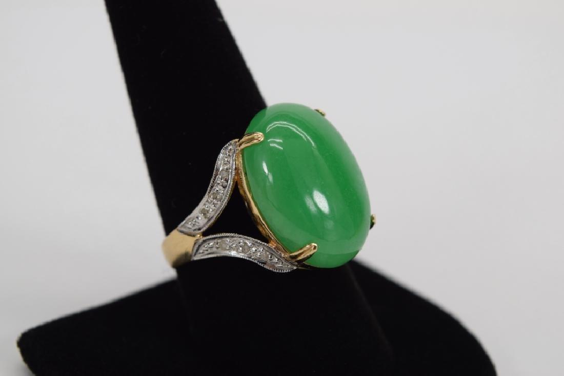 14K GOLD JADE CABOCHON DIAMOND RING - 8