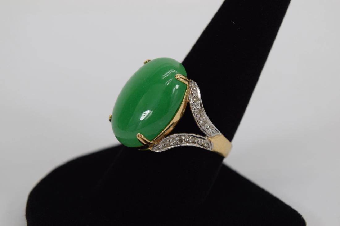 14K GOLD JADE CABOCHON DIAMOND RING - 9