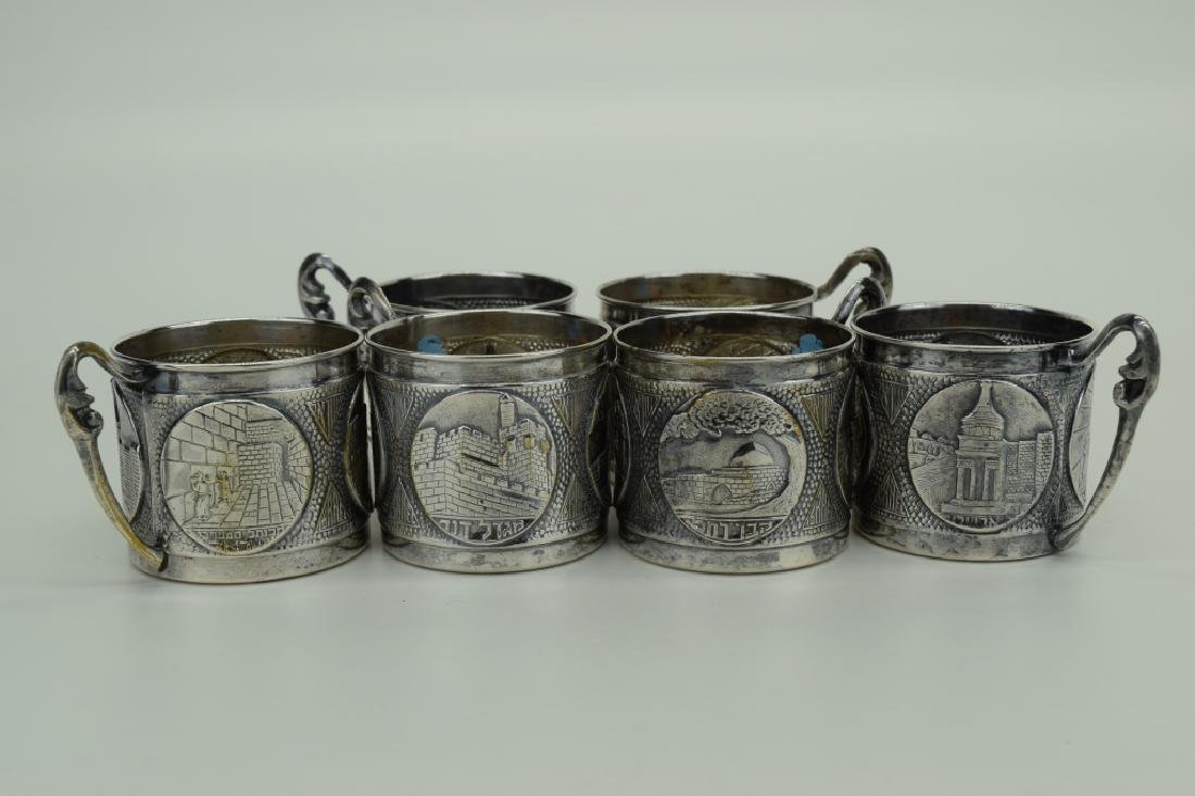 6 ISRAEL SILVERPLATE JUDAICA TEA CUP HOLDERS - 2