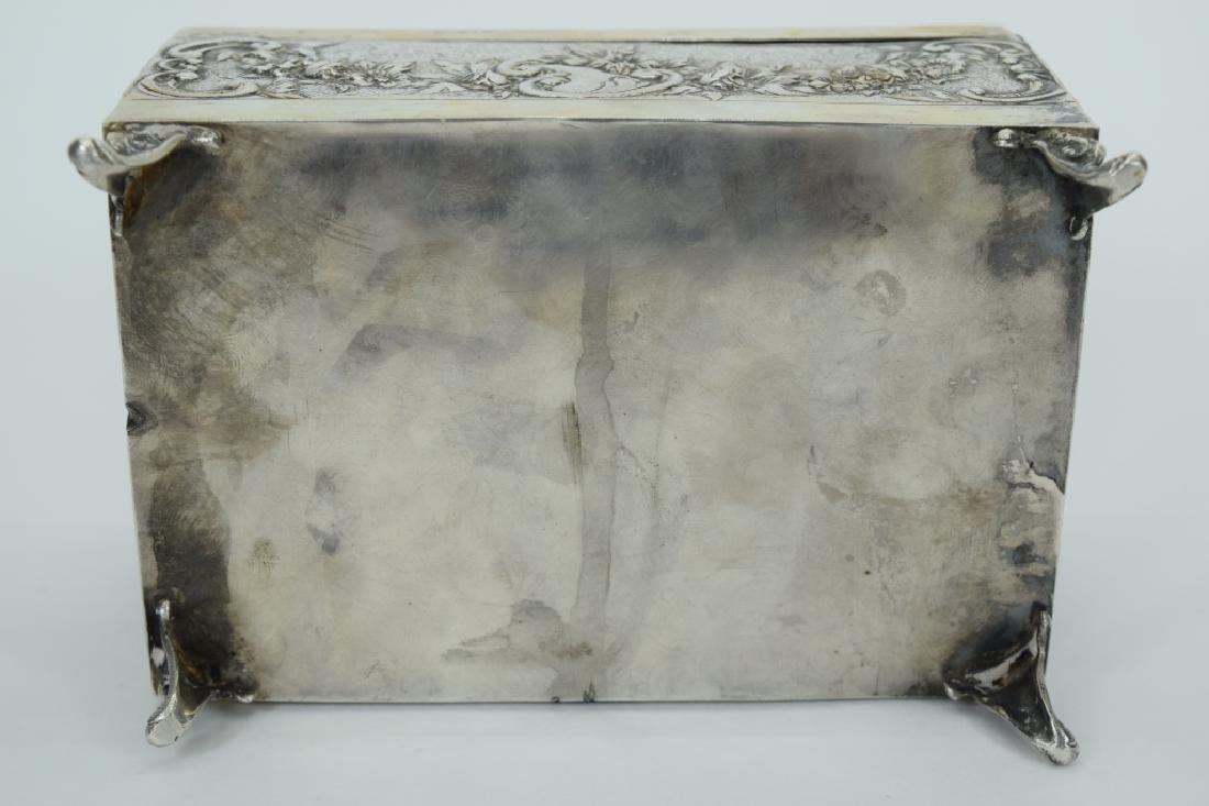 ANTIQUE 800 SILVER JUDAICA ETROG RECTANGLE BOX - 9