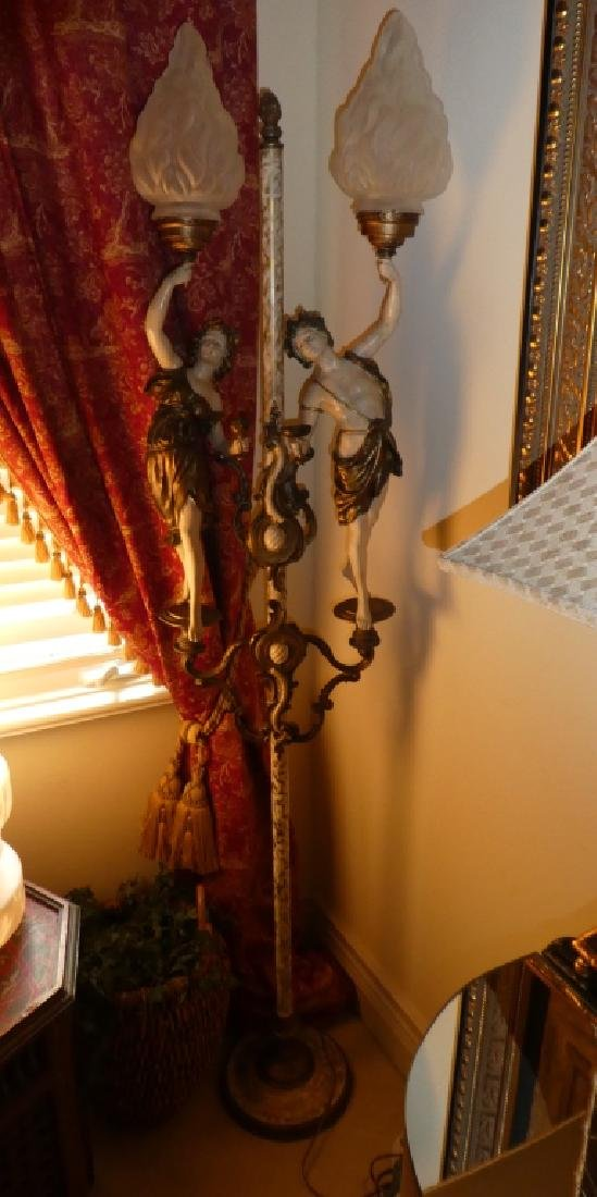 CONTINENTAL PAINTED BRONZE FIGURES LAMP - 2