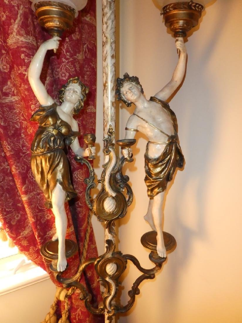 CONTINENTAL PAINTED BRONZE FIGURES LAMP - 4