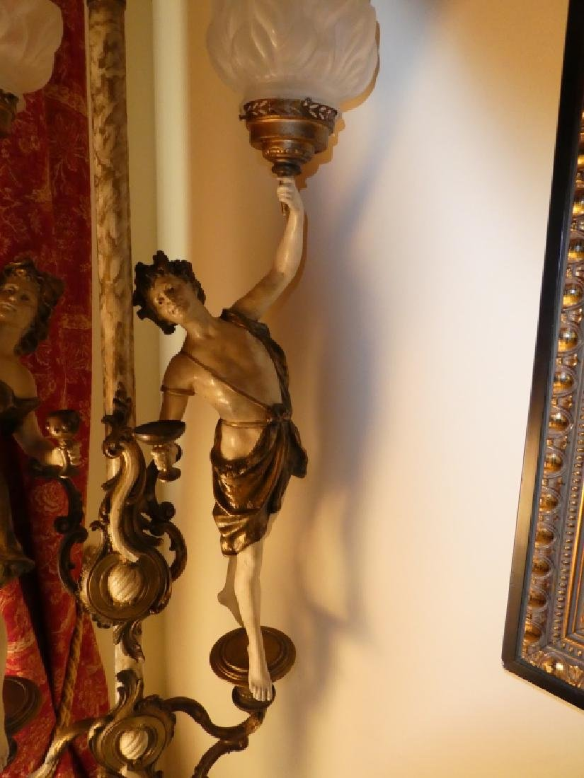 CONTINENTAL PAINTED BRONZE FIGURES LAMP - 7