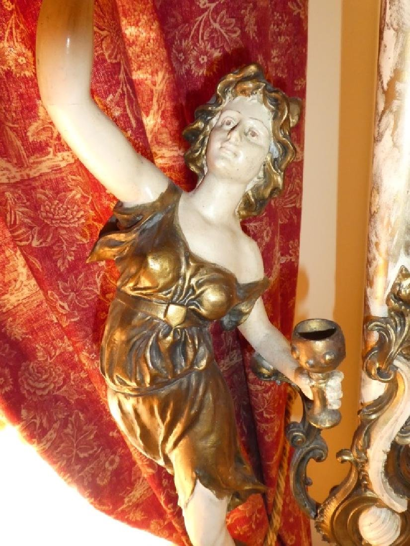 CONTINENTAL PAINTED BRONZE FIGURES LAMP - 9