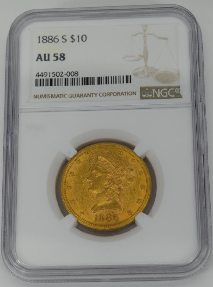 1886-S LIBERTY EAGLE $10 GOLD COIN NGC AU58 - 2