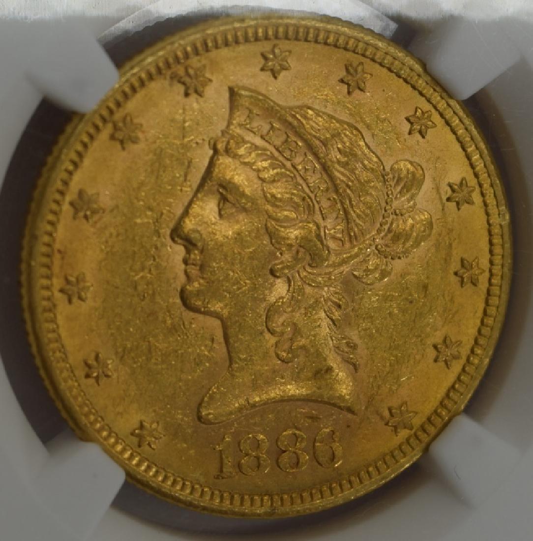 1886-S LIBERTY EAGLE $10 GOLD COIN NGC AU58 - 3