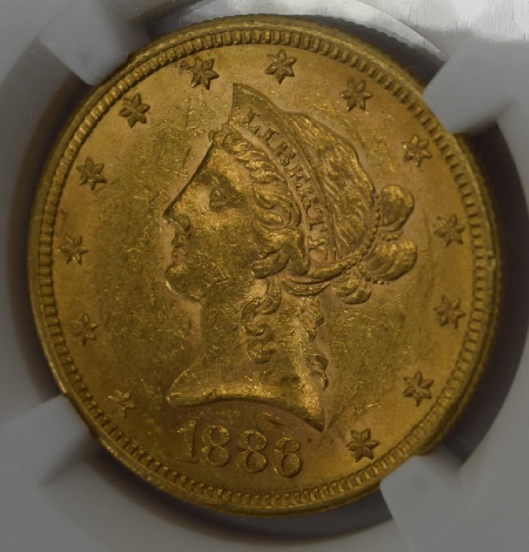 1886-S LIBERTY EAGLE $10 GOLD COIN NGC AU58 - 4