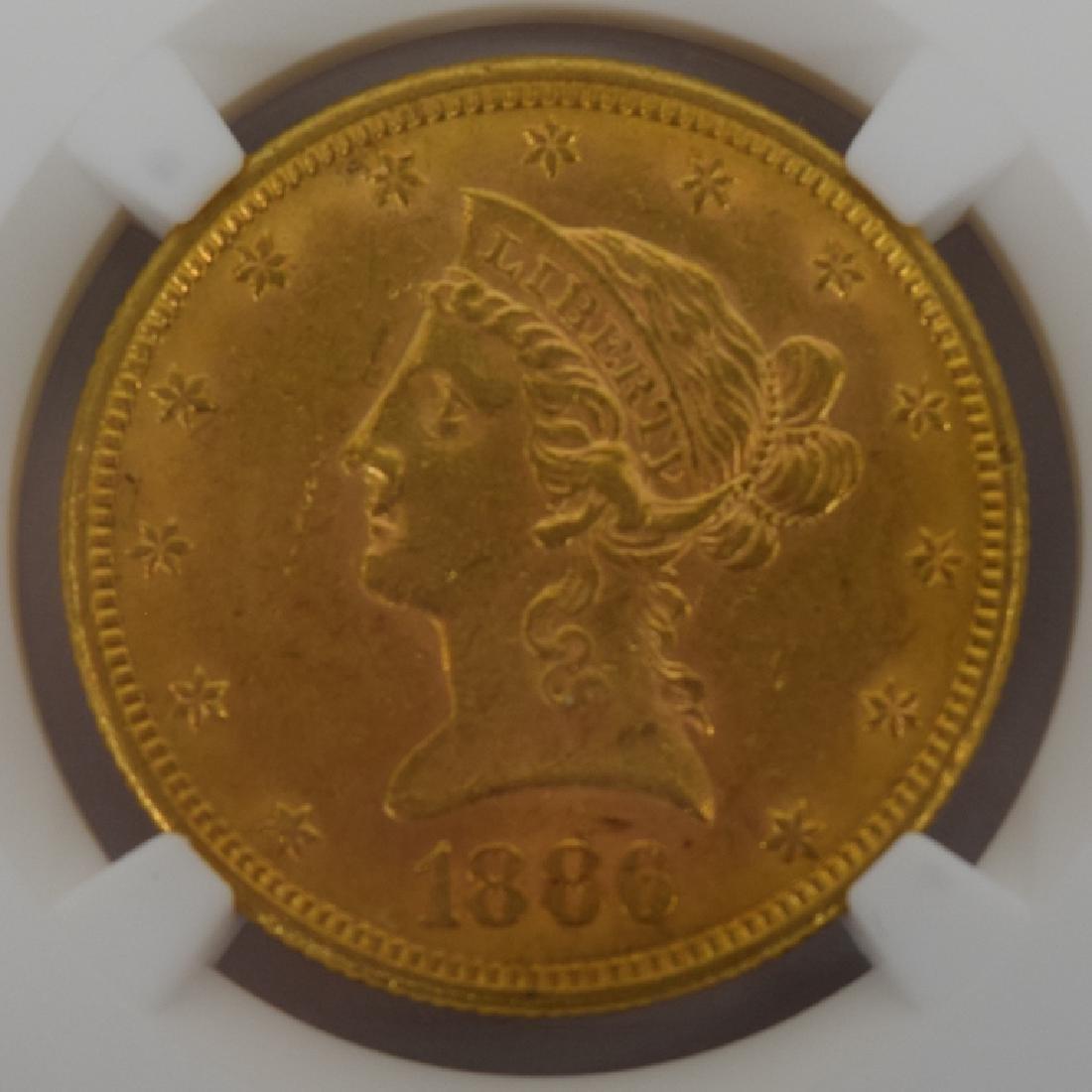 1886-S LIBERTY EAGLE $10 GOLD COIN NGC AU58 - 5