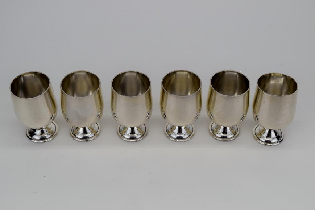 6 STERLING SILVER CARTIER B&M CORDIAL MINI GOBLET - 6
