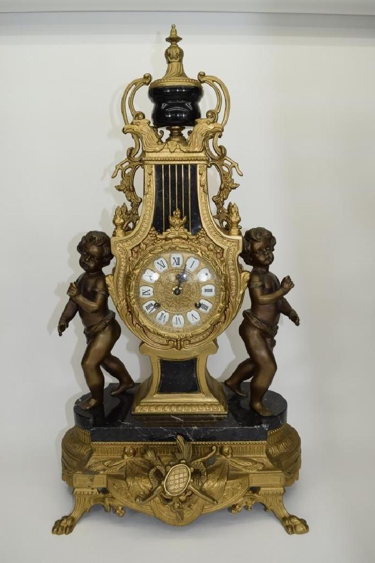 BRONZE CHERUB CLOCK CANDELABRA GARNITURE SET - 2
