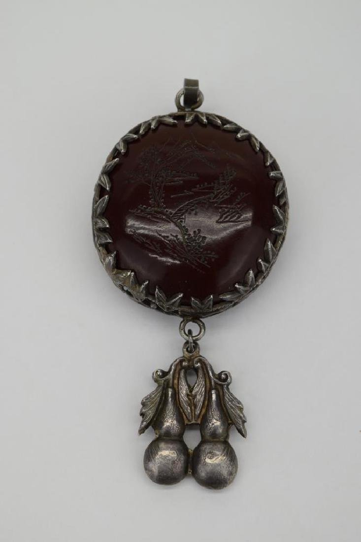 CHINESE SILVER ETCHED GOURD PENDANT - 8